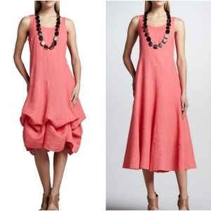 Eileen Fisher Pink Peony Linen Handkerchief Dress